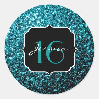 Glitter-Glitzern Bonbon 16 des schönen Aqua blauer Runder Aufkleber
