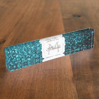 Glitter-Glitzern Monogramm des schönen Aqua blaues Schreibtischplakette