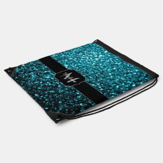 Glitter-Glitzern Monogramm des schönen Aqua blaues Sportbeutel