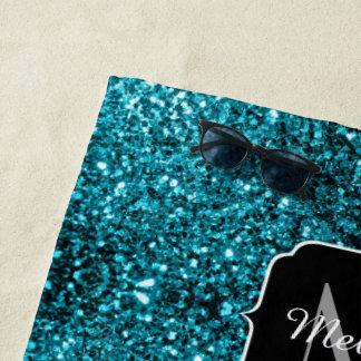 Glitter-Glitzern Monogramm des schönen Aqua blaues Strandtuch