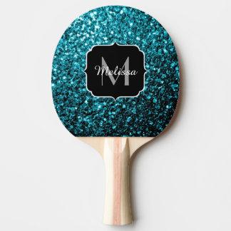 Glitter-Glitzern Monogramm des schönen Aqua blaues Tischtennis Schläger