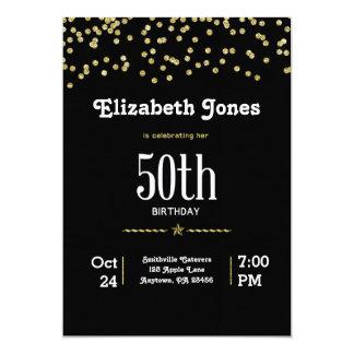 Glitter-Gold50. Geburtstags-Einladung 12,7 X 17,8 Cm Einladungskarte