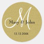 Glitter-Goldhochzeits-Monogramm-Siegel Sticker