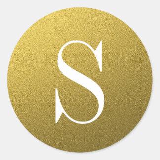 Glitter-Goldmonogramm-Umschlag Aufkleber