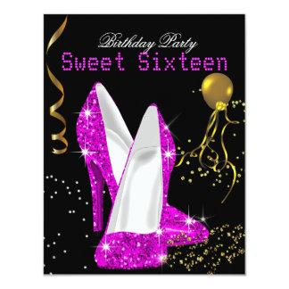 Glitter-heißes Rosa-Goldfeier des Bonbon-16 10,8 X 14 Cm Einladungskarte