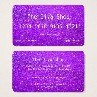Glitter-Kreditkarte der Geschäfts-Karten-| lila Visitenkarten