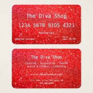 Glitter-Kreditkarten-Rot der Geschäfts-Karten-| Visitenkarte