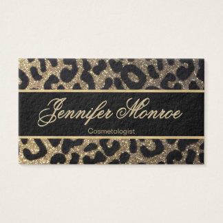 Glitter-Leopard-Schwarzes und Gold Visitenkarte
