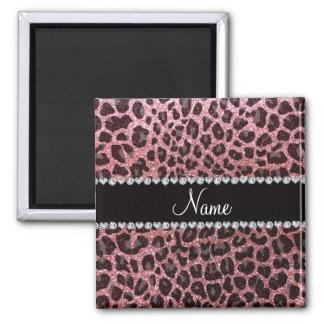 Glitter-Leoparddruck des individuellen Namens Kühlschrankmagnete