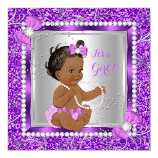 Glitter-lila silbernes Baby-Duschen-Mädchen Karte