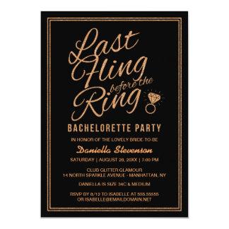 """Glitter Look Last Fling Bachelorette Party Invite 5"""" X 7"""" Invitation Card"""