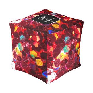 Glitter-Muster Monogramm des roten abstrakten Hocker