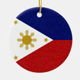 Glitter-Philippinen-Flagge mit kundenspezifischem Rundes Keramik Ornament