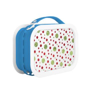 Glitter-Punkte im Weihnachtsroten und grünen Brotdose