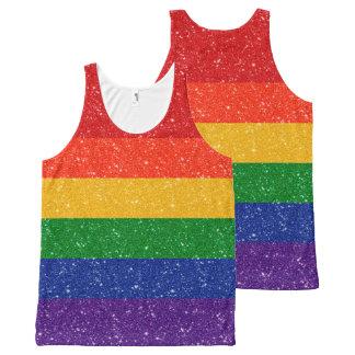 Glitter-Regenbogen-Stolz-Flagge Komplett Bedrucktes Tanktop
