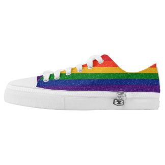 Glitter-Regenbogen-Stolz-Flagge Niedrig-geschnittene Sneaker
