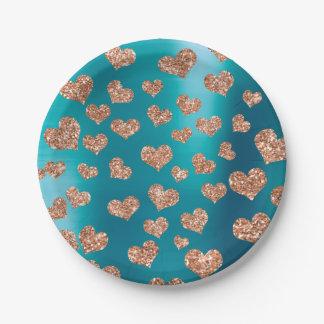 Glitter-Rosen-GoldherzenConfetti Tiffany Kupfer Pappteller