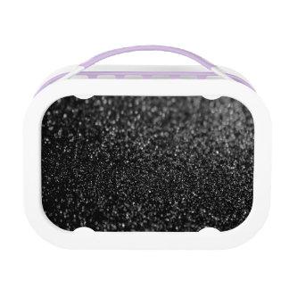 Glitter-schwarzes glänzendes brotdose