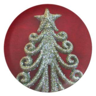 Glitter-Weihnachtsbaum Flache Teller