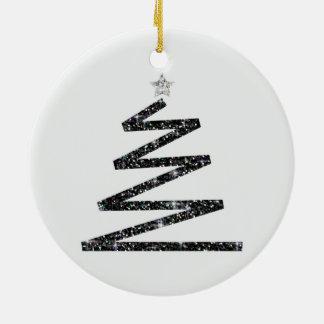 Glitter-Weihnachtsbaum Rundes Keramik Ornament