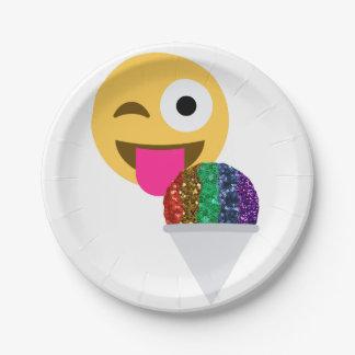 Glitter Wink emoji Papier-Teller Pappteller