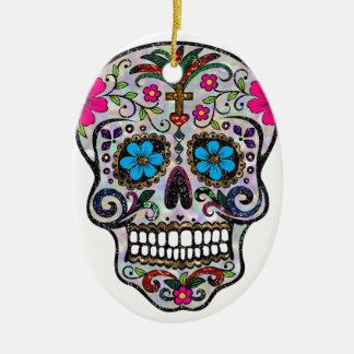 Glitter Zuckerschädel Keramik Ornament