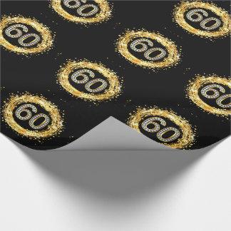 GlitterConfetti | Diamant Bling Zahl-60 Gold Geschenkpapier