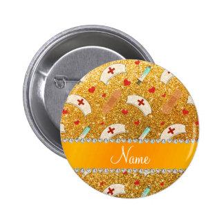 Glitterkrankenschwester-Hutherz des individuellen Runder Button 5,7 Cm