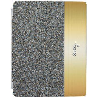 Glittermuster des Goldenen und Marineblaus mit iPad Hülle