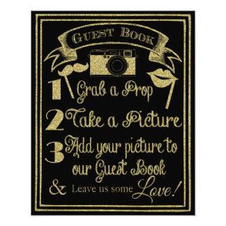 glittery Gold und schwarze Fotostandhochzeit Fotodrucke