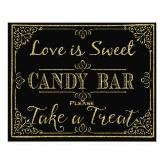 glittery Gold und schwarzes Süßigkeits-Bar, die Fotografische Drucke
