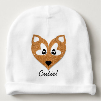 Glittery Heart Shaped Fox Babymütze
