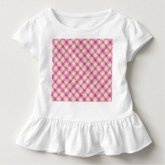 Glittery rosa u. gelbes kariertes kleinkind t-shirt