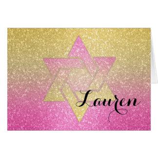 Glittery Steigungs-Schläger Mitzvah danken Ihnen Karte