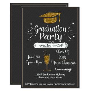 Glittery Tafel-Abschluss-Party Einladung