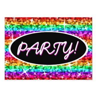 Glitz-Regenbogen-Streifen-Party! schwarze ovale 12,7 X 17,8 Cm Einladungskarte