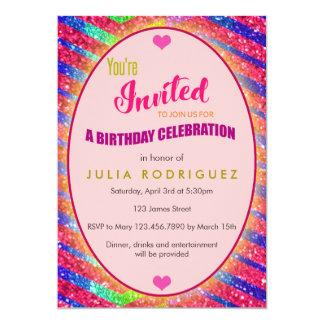 Glitzer Bling Geburtstags-Einladung Karte