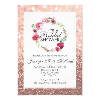 Glitter Bridal Shower Invite Pink Glitter