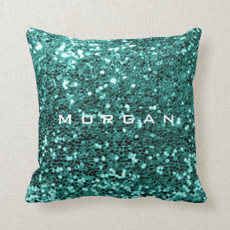Glitzer-Namensmodesequin-Minzen-aquamarines Wasser Kissen