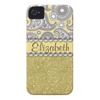 Glitzer-Paisley-diamante de imitación-Druck-Muster iPhone 4 Case-Mate Hülle