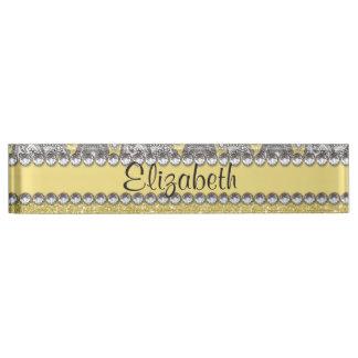 Glitzer-Paisley-diamante de imitación-Druck-Muster Schreibtischplakette