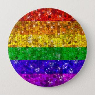Glitzer-Regenbogen-Flaggen-Heirat-Gleichheits-Gay Runder Button 10,2 Cm