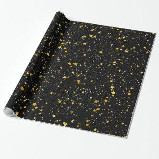 Glitzer Stars3 - Goldschwarzes Geschenkpapier
