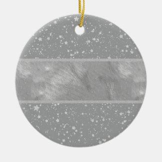 Glitzer Stars4 - Silber Keramik Ornament