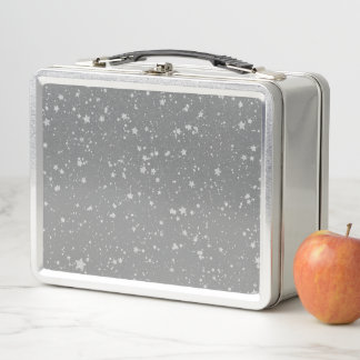 Glitzer Stars4 - Silber Metall Lunch Box