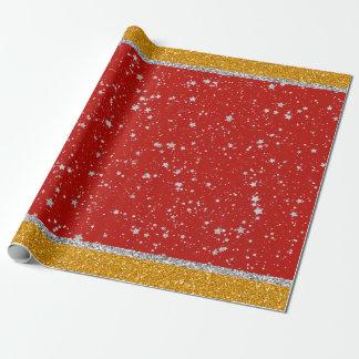 Glitzer-Sterne - silbernes Rot Geschenkpapier