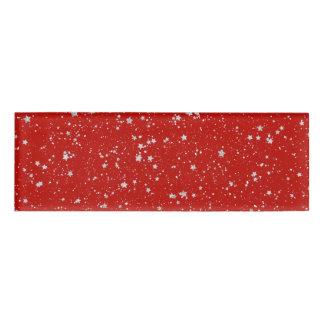 Glitzer-Sterne - silbernes Rot Namenschild