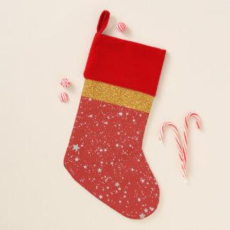 Glitzer-Sterne - silbernes Rot Weihnachtsstrumpf