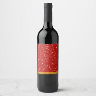 Glitzer-Sterne - silbernes Rot Weinetikett
