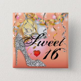 Glitzer-Stilett-Feier für Pfirsich des Bonbons 16 Quadratischer Button 5,1 Cm
